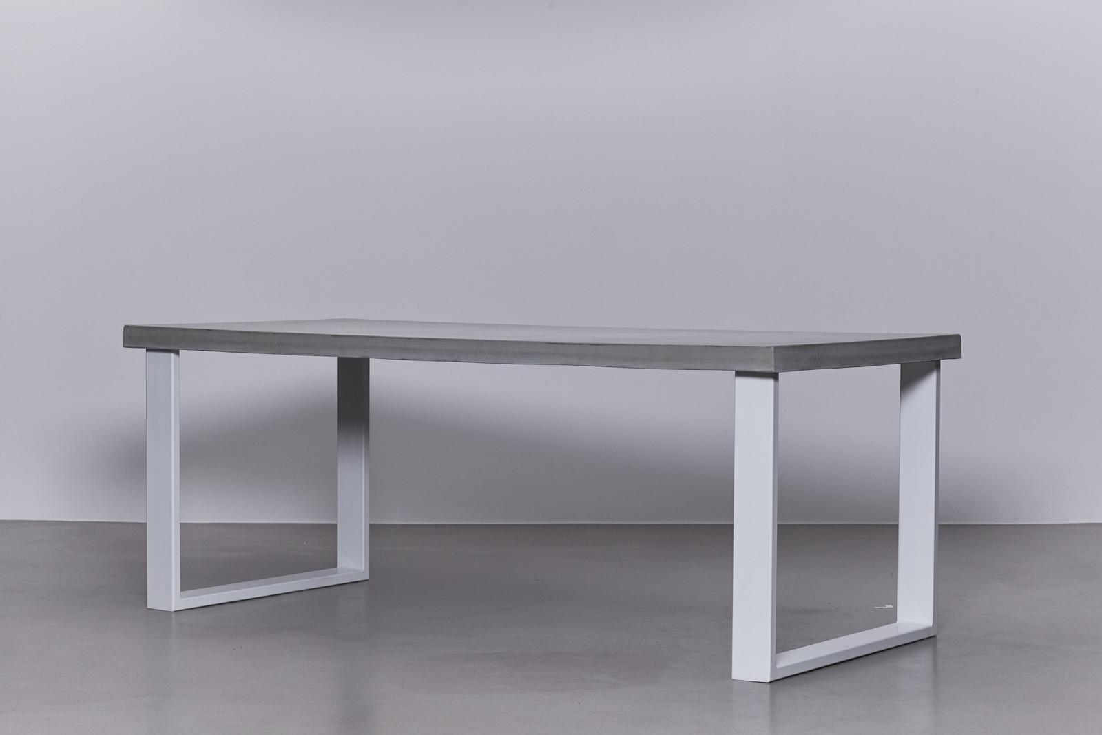 Metalen Onderstel Tafel : Betonnen tafel betongrijs u onderstel staal wit u de betonfabriek