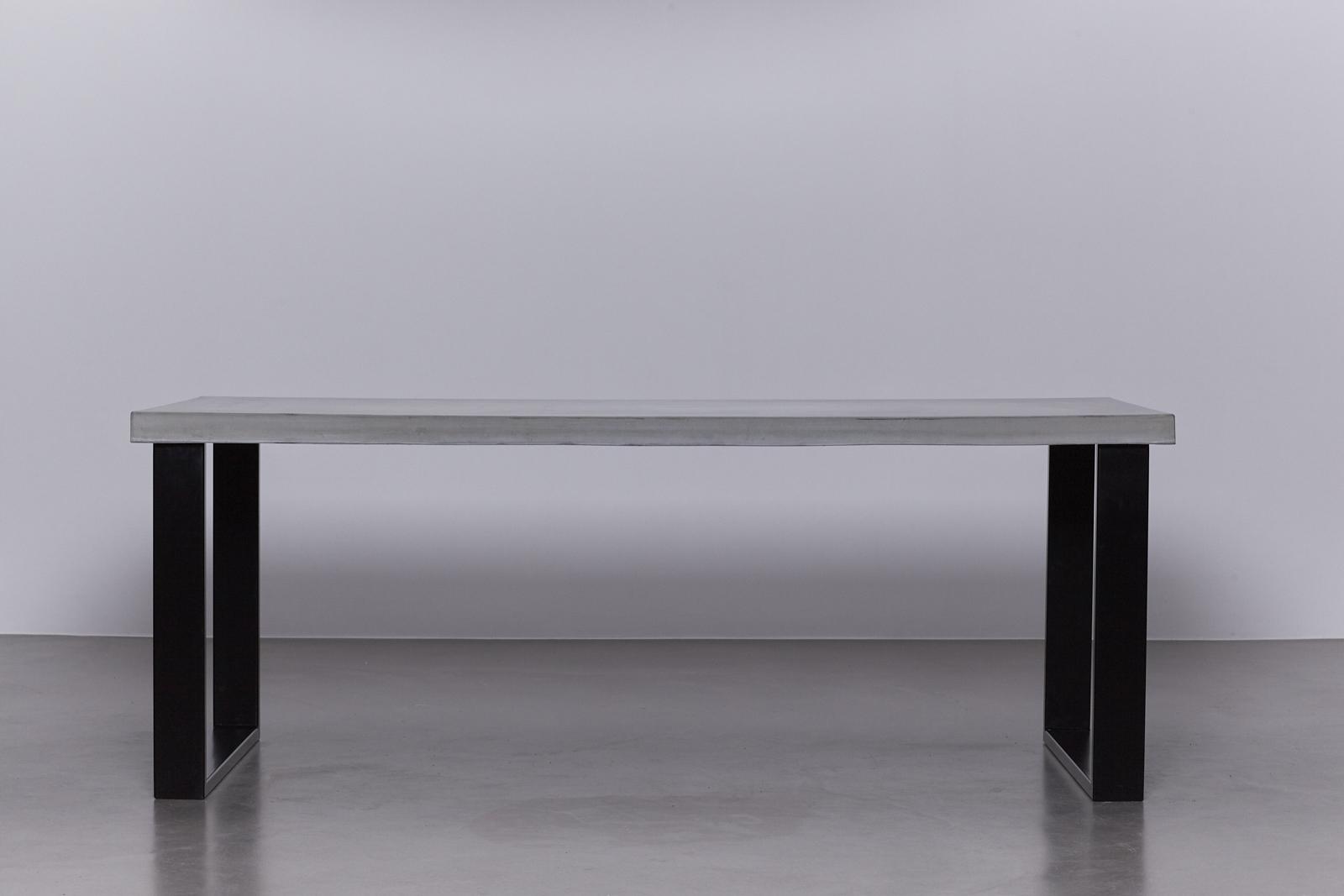 Wit Tafelblad Met Zwarte Poten.Betonnen Tafel Betongrijs Onderstel Staal Zwart