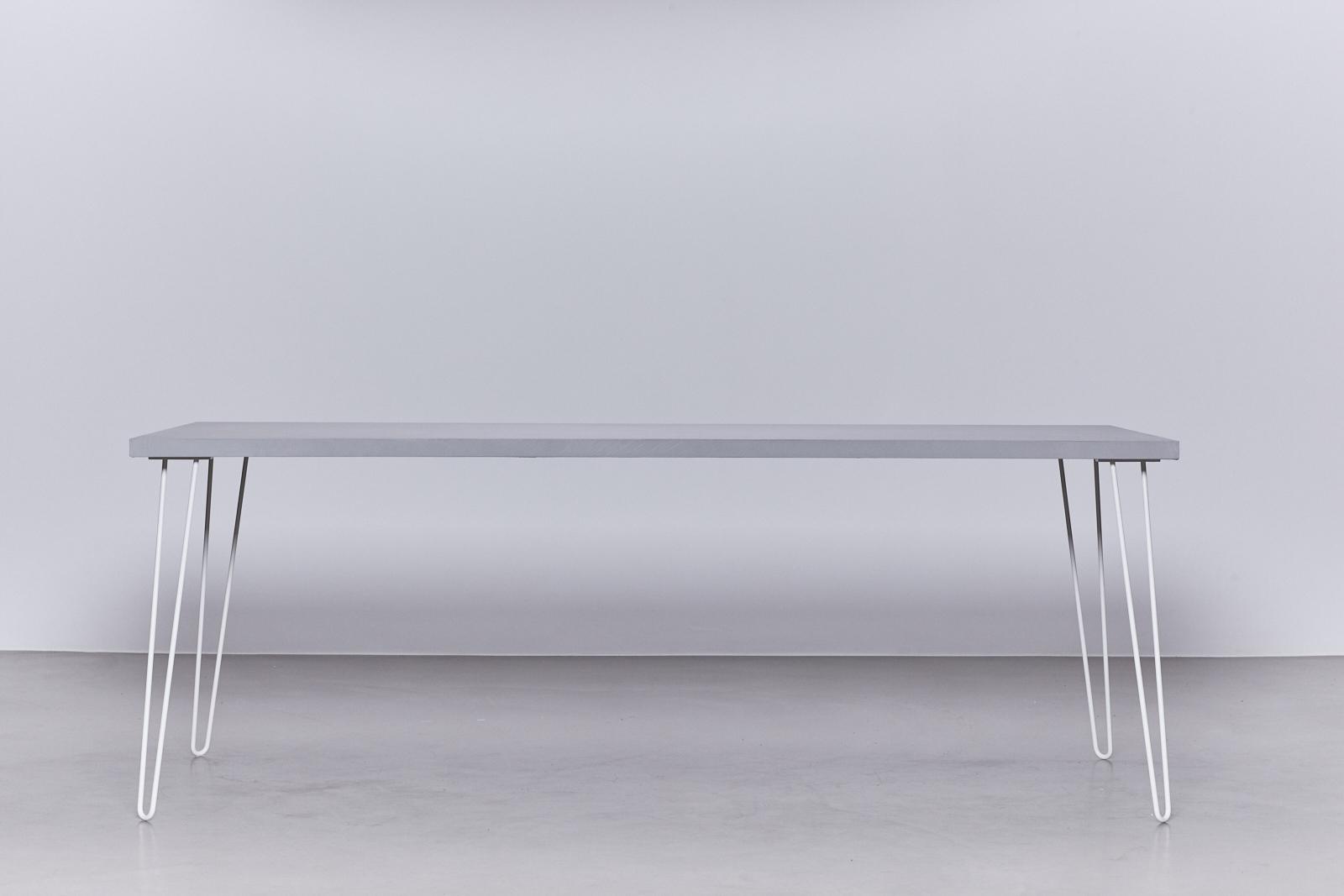 Betonlook tafel – Onderstel Hairpin Wit – De Betonfabriek
