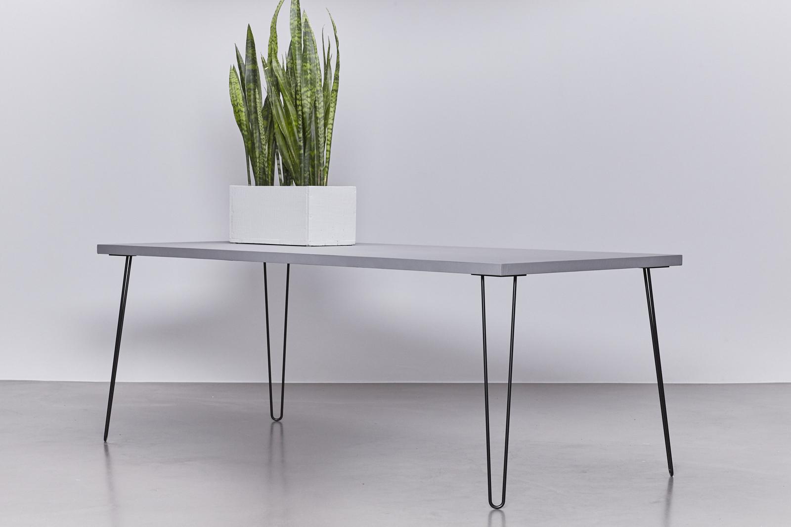 Uitverkocht betonlook tafel onderstel hairpin zwart de betonfabriek - Tafel met chevet ...
