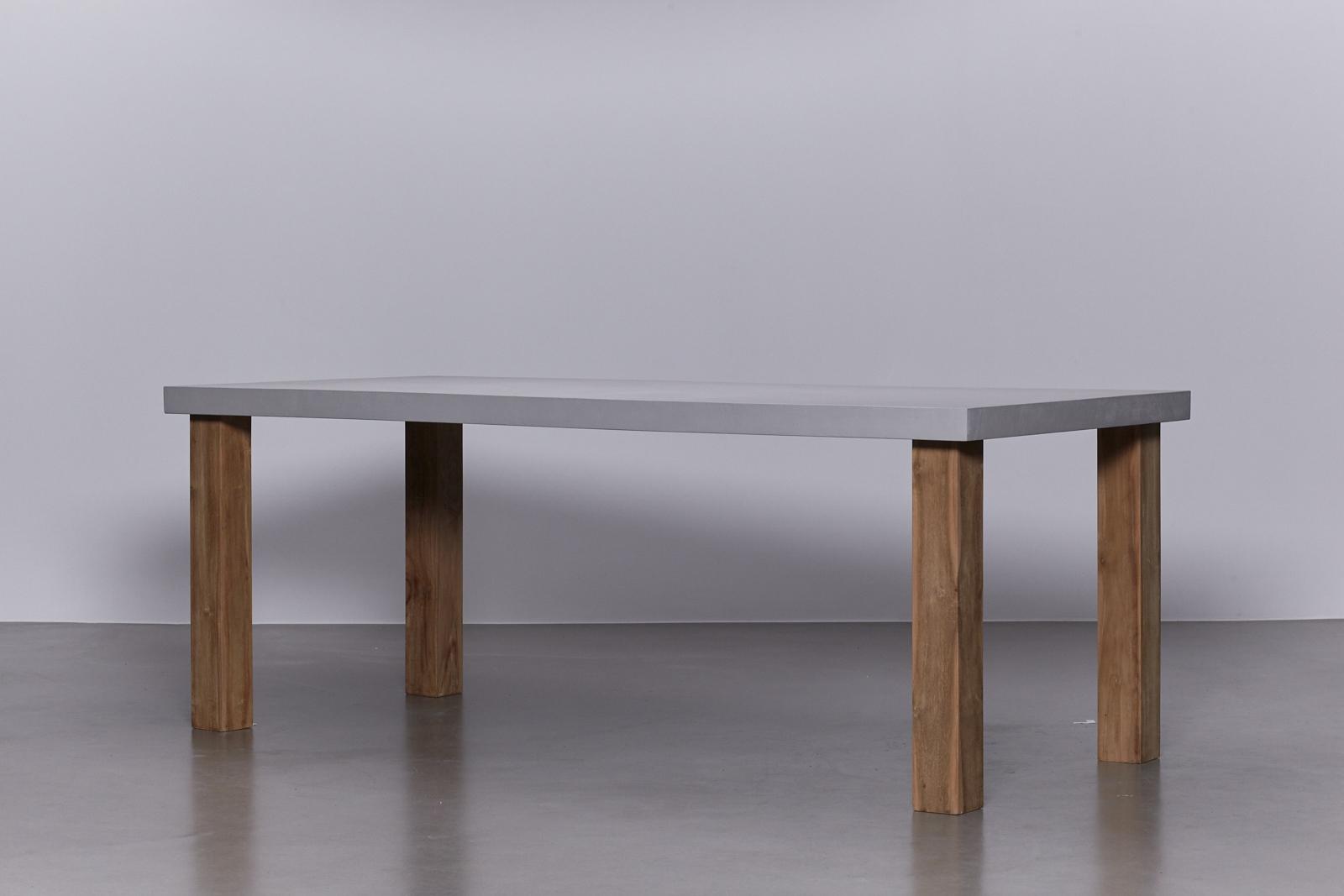 betonlook tafel onderstel eikenhouten poten de