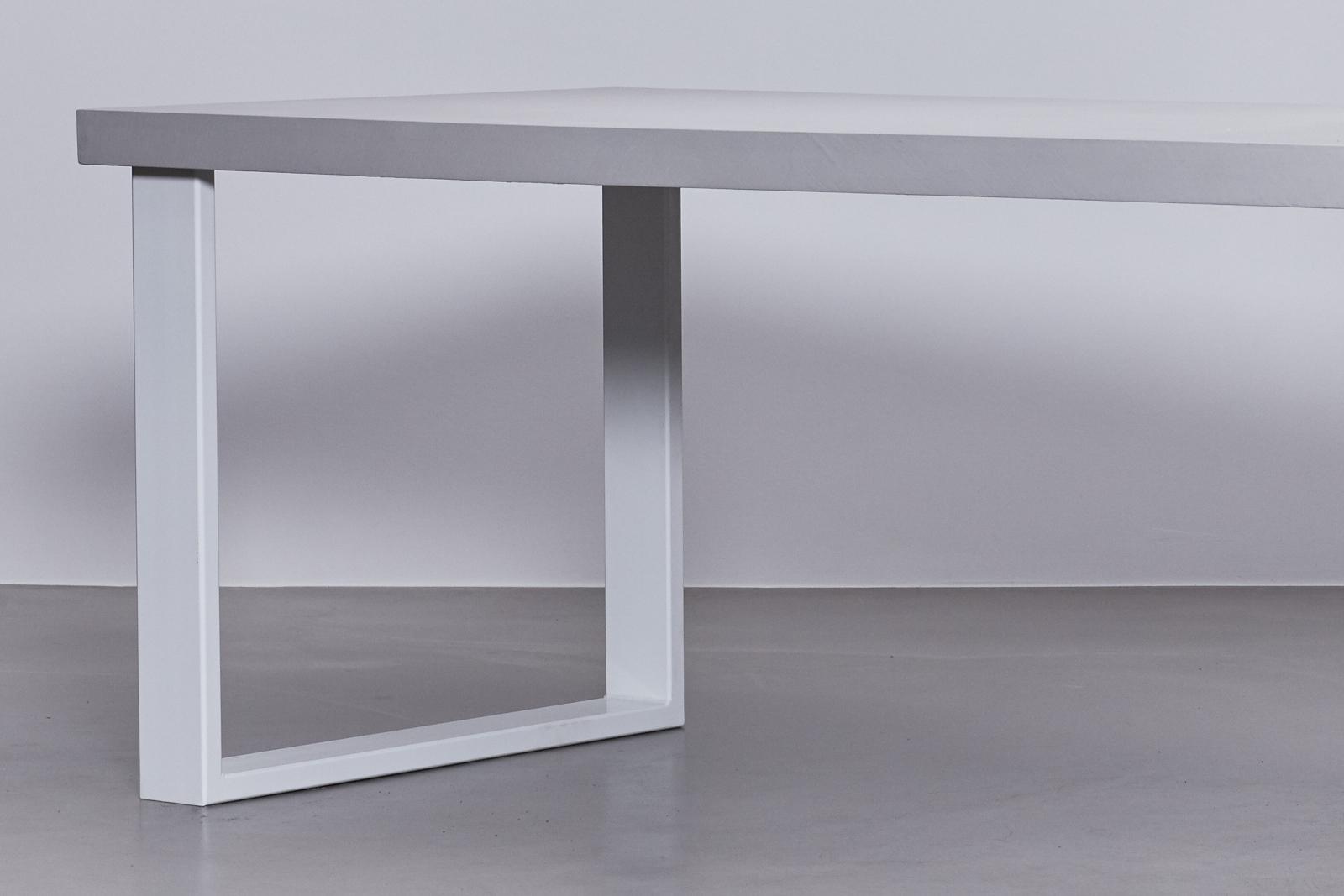 Betonlook Tafel  u2013 Onderstel Staal Wit  u2013 De Betonfabriek